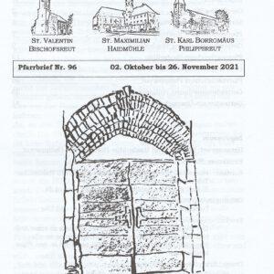 Gottesdienste-Übersicht des Pfarrverband Haidmühle: 02. Oktober bis 26. November 2021